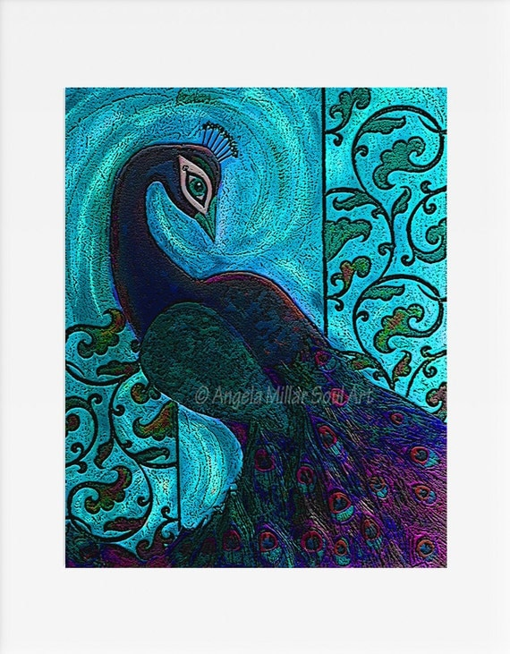 Peacock print blue peacock print peacock wall art for Peacock wall art