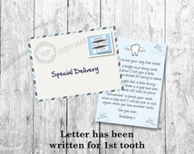 Toothfairy Letter, Toothfairy note, Printable Toothfairy letters, Toothfairy letter & envelope, Miniature letter. BLUE design. Motif Visuals