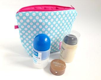 Make-up bag flowers blue / pink