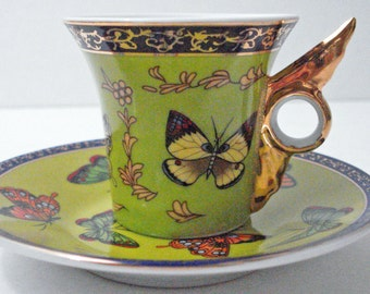 Colorful Butterfly's Golden Design Demitasse Cup And Saucer By Classic Coffee & Tea