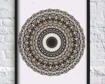 Black and Gold Mandala, Mandala Wall Art, Mandala Wall Decor, Mandala Print, Hindu Decor, Buddhist Art, Home Decor, Gold, Black, Golden