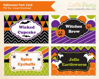 Halloween Themed Tent Card, Halloween Food Label, Editable Tent Card, Halloween Pattern, buffet card, food tags, gift tags, place cards