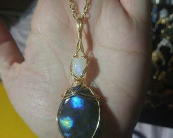Moonstone and Labradorite pendant