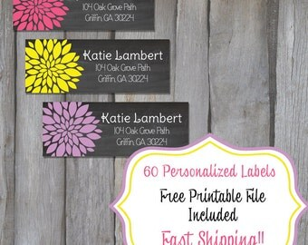 60 Personalized Return Address Labels - Black Chalk & Flower Themed Address Labels - Fancy Return Address Labels