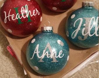 Custom Christmas personalized glass ball ornaments,  Christmas Ornament , Monogrammed Christmas Ornament, Personalized Glittered Christmas