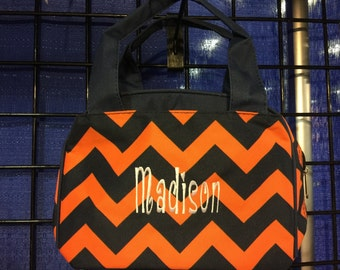 Chevron Print Monogrammed Lunch Box Navy Blue and Orange