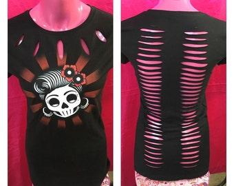 Rockabilly Skull Cut Shreds of Desire Shirt