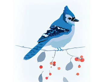 Blue Jay Bird & Cotoneaster Limited Edition Print