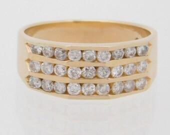 1.00 Carat T.W. Ladies Round Cut Diamond Band 14K Yellow Gold Ring