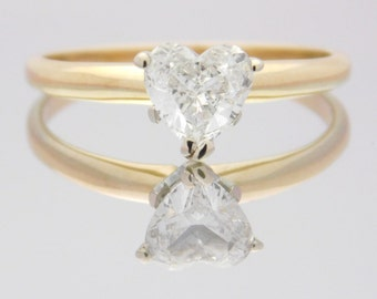 0.75 Carat Heart Cut Diamond Solitaire Engagement Ring 14K Yellow Gold