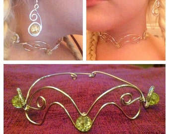Elf-Inspired Necklace, Earring & Bracelet Set