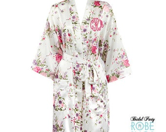 Floral Monogrammed Satin Robe, Floral Satin Robes, Personalized Floral Bridesmaid Robes