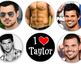 "Set of 6 Taylor Lautner 1.25"" Pinback Buttons, Flat Backs or Magnets Shirtless"
