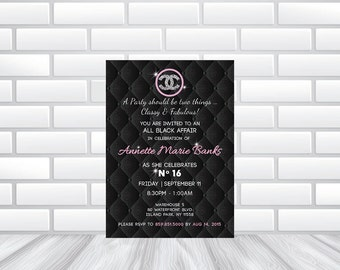 Chanel Theme Invitation  | Printed or DIY Printable File