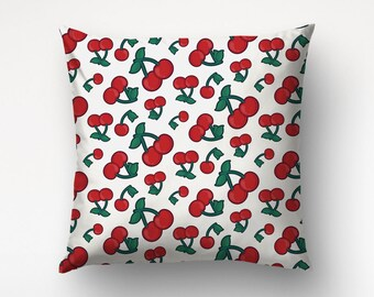 Cherry Pillow, Graphic Pattern, Red Green, Cool Throw Pillow, Nursery Decor