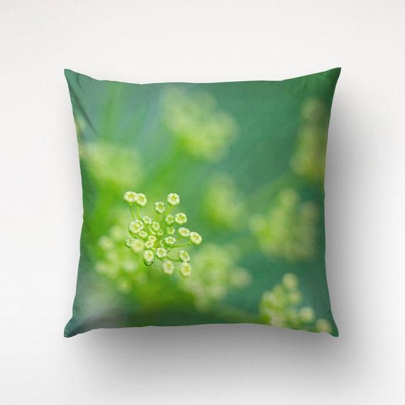 Fennel Flower Pillow, Green Decor, Floral Cushion, Home Decoration, Accent Pillows