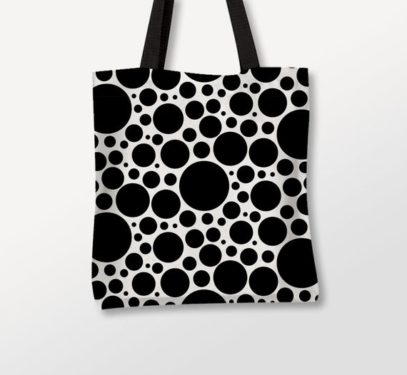 Bubbles Tote Bag, Circles Art, Graphic Bag, Photo Bag, Black Dots, Beach Bag