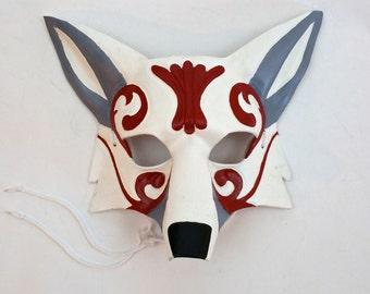 Ornate Leather Fox Mask Kabuki Style Kitsune Mask