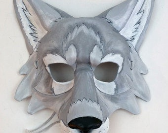 Leather Artic Wolf Mask White Wolf Mask Pale Gray