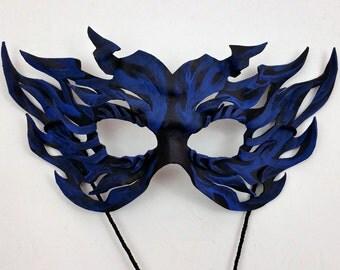 Blue BlackLight Leather Flame Mask Black Light Fire Mask
