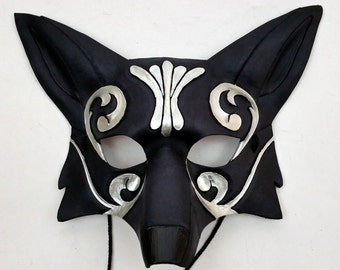 Ornate Silver and Gold Leather Fox Mask Black Kitsune Mask