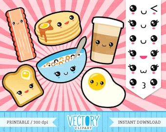 12 Kawaii Breakfast Clipart, Kawaii Emoticons, Cute Breakfast Clipart, Japan Clipart, Kawaii Clipart, Kawaii Food, Cute Food by Vectory