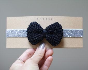 Holiday knitted bow headband