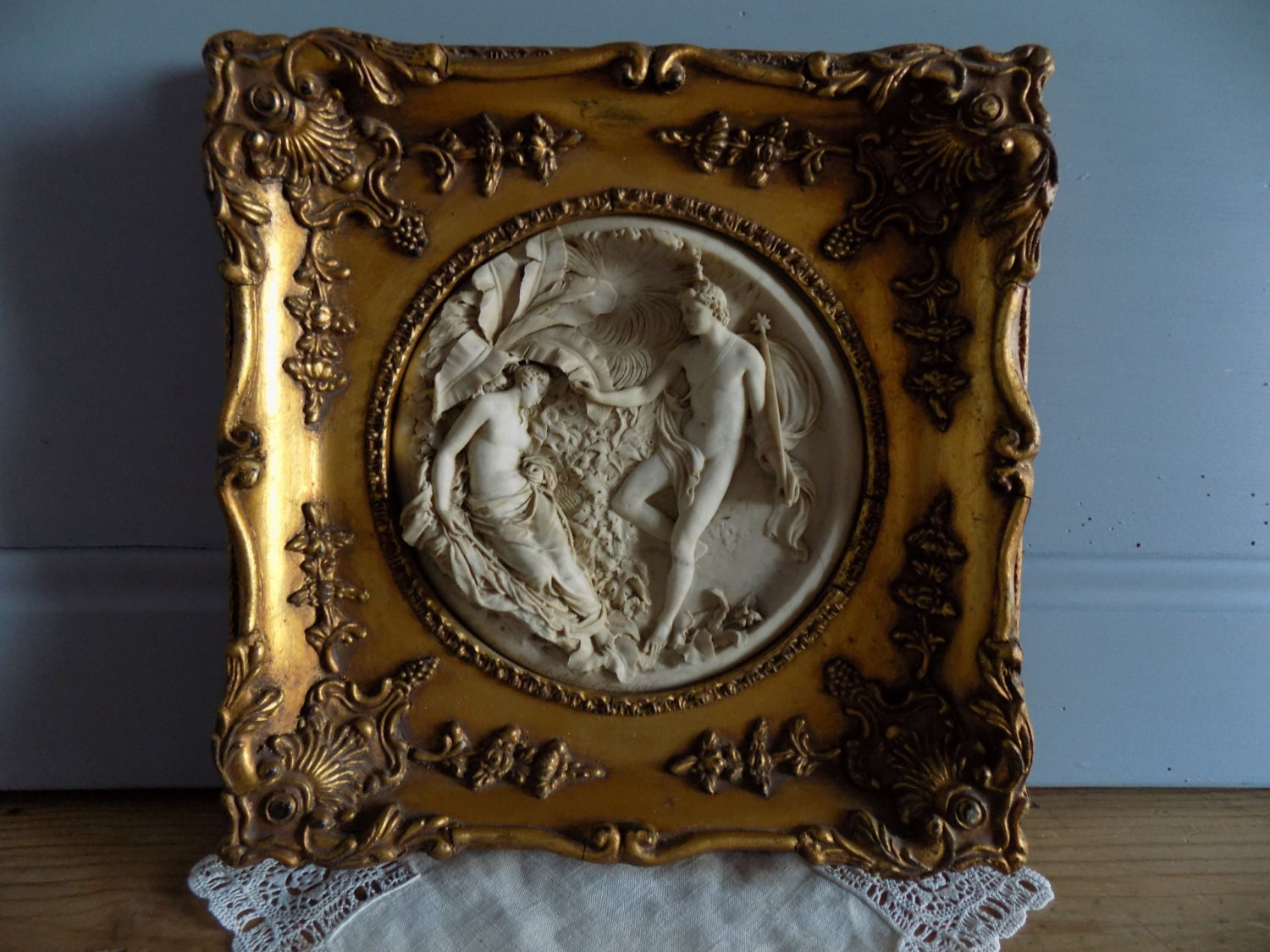 Beautiful French Antique Marble Relief Tondo Carving Signed E