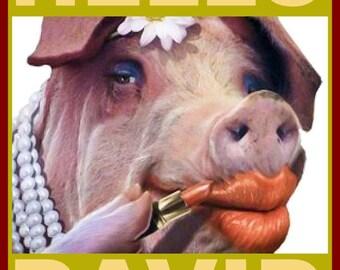 David Cameron Piggate Hello David Pig in Lipstick Tshirt