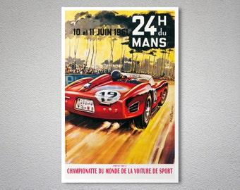 24 Heures du Mans, 1961 Vintage Grand Prix Poster - Poster Paper, Sticker or Canvas Print