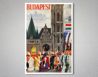 Budapest Vintage Travel Poster -  Poster Print, Sticker or Canvas Print