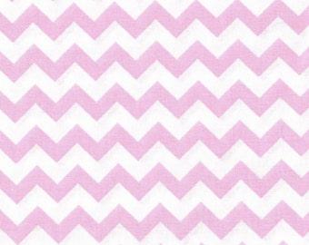 Pink Chevron Fabric, Light Pink Fabric,  1/2 inch Chevron Fabric, Fabric by the Yard,  woven cotton