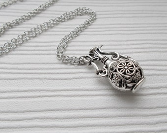 bottle necklace, silver jewellery, silver necklace, gift for her, bottle jewellery, jug necklace, pendant necklace for women