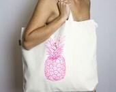 Pineapple Print Organic Cotton Beach Bag