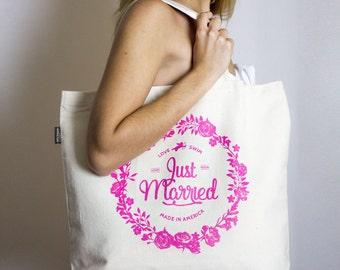 Just Married – Beach Bag – Pink Print