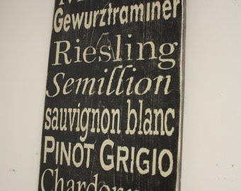White Wines Wooden Subway Art Sign