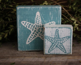 Starfish Blocks, Starfish Decor, Summer Decor, Beach Decor, Rustic Starfish Decor, Weathered Starfish Blocks, Rustic Starfish Blocks