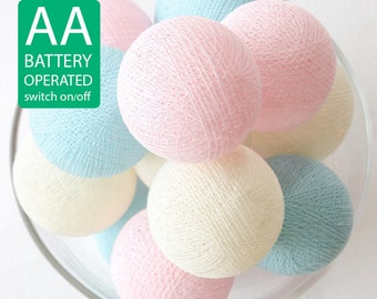 20 Cotton Ball LED String Lights AA Battery Operated, Wedding Light, Patio Party, Fairy, Bedroom, Outdoor - Sweet Pastel Pink Blue Cream
