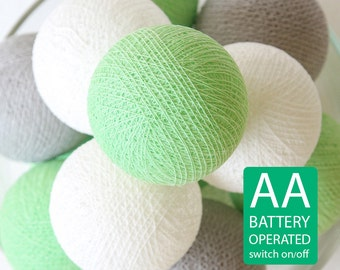 20 Cotton Ball LED String Lights AA Battery Operated, Wedding Light, Patio Party, Fairy, Outdoor -  Pastel Green Grey White