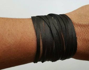 Leather Bangle, Multistrand Leather Bracelet, Leather Cuff, Leather Wrap, Snap Bracelet, Soft Leather
