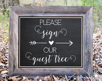 Please Sign Our Guest Tree Leaf Leaves Chalkboard Sign Wedding Reception Party Print Printable