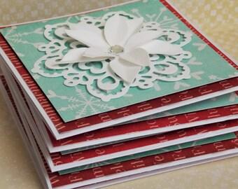 Set of 5 Handmade Christmas Cards, Mini Cards Pack, Snowflake Handmade Cards, Greeting Cards Set