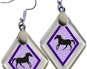 """Earrings """"Western Silhouette Horse"""" assorted colors, rescued, repurposed window glass~Lightening landfills one tiny glass diamond at a time!"""