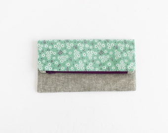 Linen Clutch | Large Fold Over Blue Floral Cotton and Gray Linen Clutch | s/f Designs