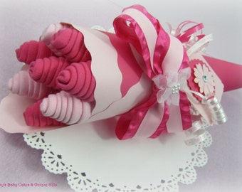 Baby Washcloth Bouquet, Baby Washcloths, Baby Girl Gift, New Mom Gift