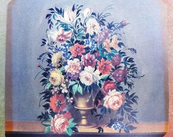 70s Print, Floral Print, Hexagonal Shaped Print, Flower Print, Vintage Art, Vintage Print