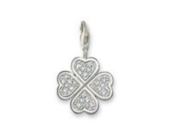 charms argent divers nature trefle zircon,Bracelet Charm,sterling silver charm,Bracelet européen,pendentif, Style Européen à breloques