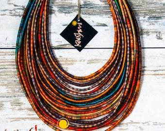 "HAKUNA MATATA - unique yarn ""Maasai"" necklace (ethnic, boho, eco, hippie, folk)"