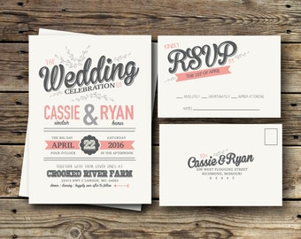 Printable Wedding Invitation Suite - The Cassie Collection