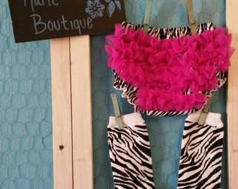 Sassy Zebra Bloomers with Magenta Ruffles